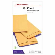 """Office Depot Clasp Envelopes - 10"""" x 15""""- Brown - Box Of 100"""