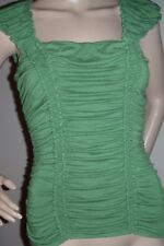 Women's Roughed Baby Doll Blouse, M, Cap Sleeve Green Fitted Max Studio