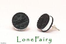 Black Mini Oreo Biscuit Silver Plated Stud Earrings Food Jewellery Kitsch Retro