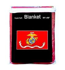 "U.S. Marine Corps Flag Fleece Blanket NEW 50""x60"" Soft Marines USMC Throw Cover"