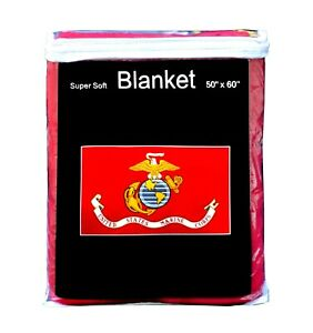 "U.S. Marine Corps Flag Fleece Blanket NEW 50""x60"" Soft Marines USMC Throw Cover"