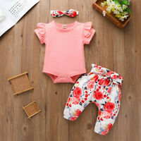 Newborn Infant Baby Girls Romper Floral Pants + Headband Outfits Set Clothes