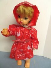 "Vintage Red Vinyl Raincoat For 16"" Terri Lee Doll Ex. Con."