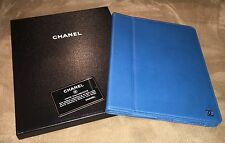 NEW CHANEL Blue Caviar Leather  Quilted  CC Logo iPad Tablet Case Holder Cover