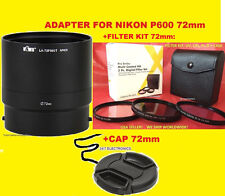 ADAPTER+FILTER KIT UV CPL FLD+LENS CAP 72mm> CAMERA NIKON COOLPIX P600 P610 B700