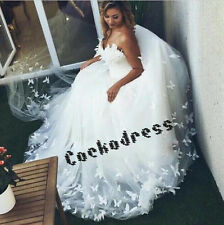 Luxury Butterfly Appliques Tulle Ball Gown Wedding Dress custom size 4-6-8-10- +