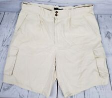Gant Chino Cargo Shorts Sz 36 Men Pale Yellow Pockets Pleated Front Casual