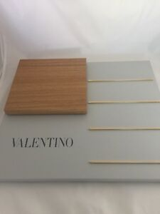 Valentino Display Countertop Tray Stand Light Grey w/ Gold Trim & Wooden Display