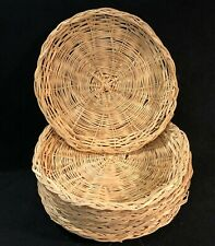 """New listing 8 Vintage Bamboo Woven Wicker Paper Plate Holders - Reusable - For 8"""" Plates"""