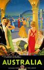"""Vintage Travel Poster Sydney Harbour Bridge CANVAS ART PRINT 8""""X 12"""""""