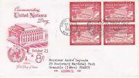 United Nations NY33 - Enveloppe 1er jour 1954 Palais des Nations Airmail 8c