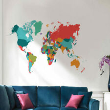 Home Large Size World Map Wall Sticker Living Room Color Self-adhesive Decal