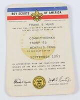 Vintage 1961 Committeeman Troop 65 Memphis Tenn. Membership Card Boy Scouts BSA