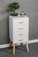 4 DRAWER WHITE BEDSIDE TABLE WOODEN LEG SCANDINAVIAN RETRO BEDROOM FURNITURE