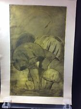 Mushroom Signed Charcoal Art 1/5 Print Dark Green Vtg 1969 Psychedelic Hippy