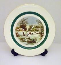 NAUTILUS Decorative Plate w/ HOMESTEAD IN WINTER Scene By CURRIER & IVES