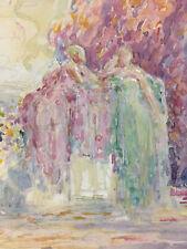 Peinture Aquarelle Signé Guidetti Tampon Atelier Scène Bucolique Femme