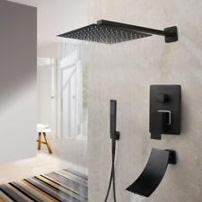 Wall Mounted Bathroom Matt Black 16'' Shower Head Faucets Hand Spray Mixer Taps