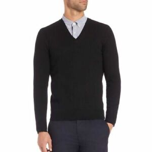 Burberry London Men Sweater Black 100% Merino Wool Long Sleeve V-Neck