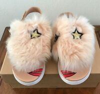 UGG Kids Girls YOUTH Punki Back Strap Sandals Natural/Soft Ochre Sz 6 Fluffy