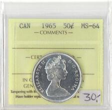 Canada 1965 50 Cents ICCS Certified MS-64 Queen Elizabeth II XTG 851