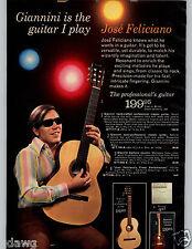 1971 PAPER AD Guitar Giannini Jose Feliciano Ukelele Spruce Rosewood Nickel Fret
