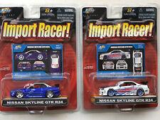 LOT 2 JADA TOYS IMPORT RACER NISSAN SKYLINE GTR R34 1:64 W7 069 AND 070    #73