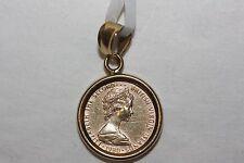 Fine 14K/ 22K Yellow Gold Queen Elizabeth Small coin Pendant Charm 2.1 Grams