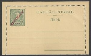 Timor 3a lettercard ovpt REPUBLICA unused stuck