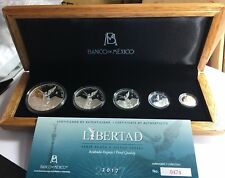 """2017 5 pc silver Libertad PF """"Treasure Coins of Mexico™"""" Limited to 1,000 sets."""