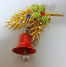 Vintage Signed ART Christmas Tree w Ornament Bell Rhinestone 3D Pin Brooch RARE