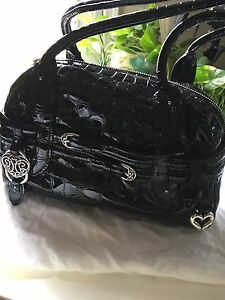 NWT Brighton Double Buckle Patent Leather Shoulder Bag Purse