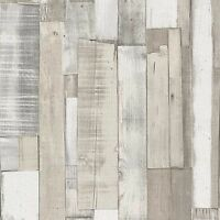 NEW RASCH WOOD BOARD PANEL EMBOSSED TEXTURED WALLPAPER WHITE 203714