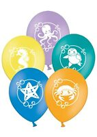 "Sea Creatures - 12"" Printed Assorted Latex Balloons Pack of 12  by Party Decor"