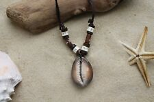 NEW COWRIE SHELL NECKLACE SURF SKATER ETHNIC BEACH ADJUSTABLE BROWN CORD /n174vi