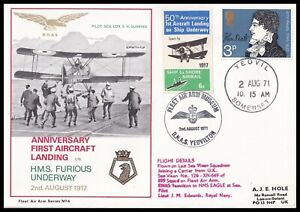 Pair of 1971 GB First Aircraft Landing on HMS Furious Underway FAA Flown Covers