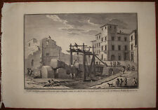 Stampa antica Obelisco Egitto Cesare Augusto Giuseppe Vasi 1760 old print Roma