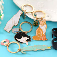 Cute Animal Keychains Black Cats Bear Fox KeyChain Pet Jewelry Key Accessor_ti