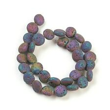 Lava Beads Electroplated 12mm Flat Round Rainbow x 32 Pieces