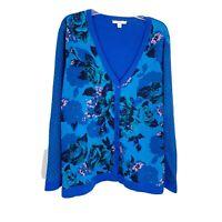 Isaac Mizrahi Blue Purple Floral V-Neck Cardigan Sweater Women's Plus Size 2X