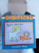 More details for rare vintage 1978 aries astrology sign garfield ceramic mug cup cartoon ram