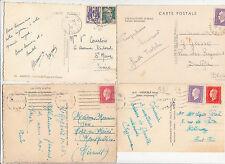Lot 4 cartes postales timbrées timbres libération 1944 croix de lorraine 5