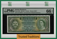 TT PK 28b 1961-69 BRITISH HONDURAS 1 DOLLAR PMG 66 EPQ GEM UNCIRCULATED