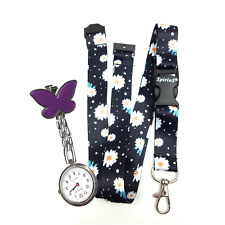 SpiriuS Fob Nurse Pocket Watch butterfly + Neck strap Lanyard daisies in black