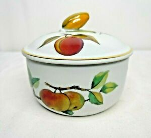 Royal Worcester Evesham Gold Butter Tub & Lid Gold Trim Yellow Corn Finial Fruit