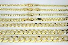 "14K SOLID GOLD CUBAN LINK CHAIN NECKLACE BRACELET FOR MEN WOMEN 2~11.5mm 7~30"""