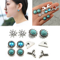 6Pairs/set Women Rhinestone Round Turquoise Earrings Set Ear Studs Jewelry Gift