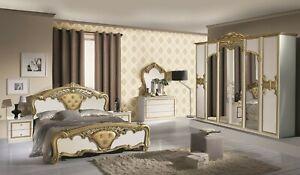 Luxus Schlafzimmer Elena weiß/gold italienisches Design 160x200/6-türig