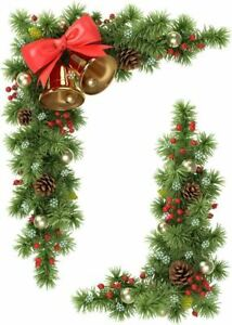 Fir, Cones & Bells Beautiful Corner Clings - Christmas Window Sticker Decoration