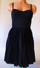 """Anthropologie Greylin Women's Dress Black Corset Fit Flare Pleated Small 32"""" New"""